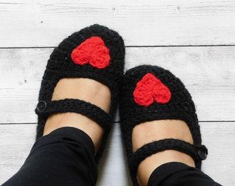 Heart slippers - mary jane slippers - red heart slippers - heart house slippers - heart shoes - slippers with heart - women heart slippers