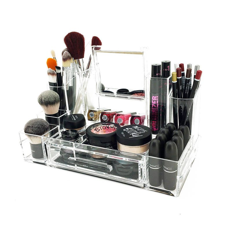 Alexa Acrylic Cosmetic/Makeup Organizer W/Mirror