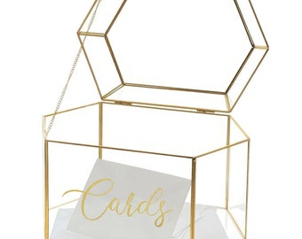 OnDisplay Luxe Gold Frame Glass Wedding Card Box w/Lid - Clear Gift/Money Box