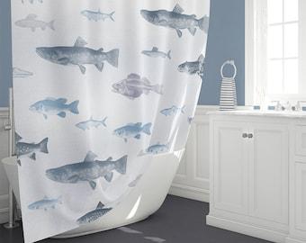 Fish Shower Curtain Extra Long 70 74 84 90 Nautical Bathroom Decor Gray Blue Beach House