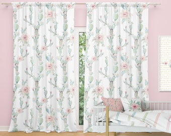 Desert Cactus Bloom Window Curtains, Kids Window Curtain, Nursery Curtains  Cactus Valence Kids Room Drapery Panels Blockout Curtain Panels