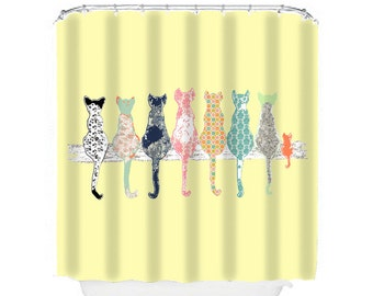 Cat Shower Curtain Cats Yellow Bathroom Decor Kids