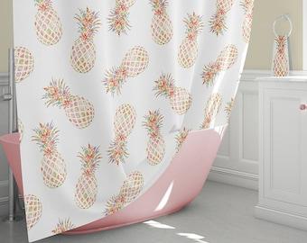 Pineapple Shower Curtain Tropical Curtains Decor Bathroom Bath Towels Bathmat Beach