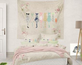 Shabby Chic Bedding Cat Duvet Teen Girl Bedding Shabby Chic Duvet Girls  Duvet Little Girl Bedding Cat Pillow Sham Kids Duvet Cats Twin Duvet