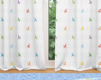 Dinosaur Window Curtains, Kids Window Curtain, Nursery Curtains Dinosaur  Valence Kids Room Drapery Panels Blockout Curtain Dinosaur Curtain