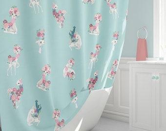 Personalised Kids Shower Curtain Llamas Curtains Aqua Bathroom Decor Bath Towel Llama Bathmat Extra Long