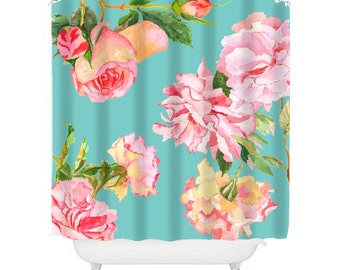 Shabby Chic Shower Curtain Rose Floral Bathroom Decor Aqua And Pink