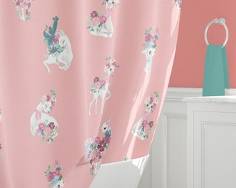 Llama Shower Curtain Pretty Curtains Peach Bathroom Decor Bath Towel Bathmat Extra Long Watercolor