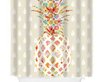 Pineapple Bathroom Decor Unique Shower Curtain Cool Fabric Curtains Extra Long