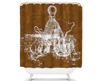 Octopus Shower Curtain Brown Bathroom Decor Ocean Beach House