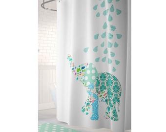 Beau Kids Shower Curtain, Elephant Shower Curtain, Elephant Bathroom Decor,  Childrens Shower Curtain, Boys Shower Curtain, Fabric Shower Curtain