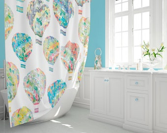 Kids Shower Curtain Extra Long Curtains Bathroom Decor Colorful Toddler Boy Hot Air Balloon