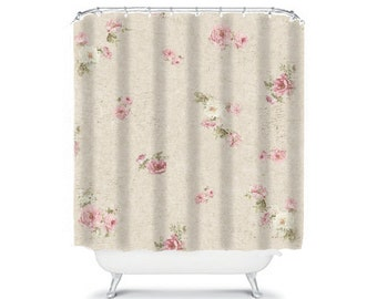 Shabby Chic Shower Curtain Rose Floral Bathroom Decor Pink