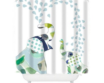 Elephant Shower Curtain Kids Bathroom Set With Bath Mat Towels Decor Fabric Long Curtains
