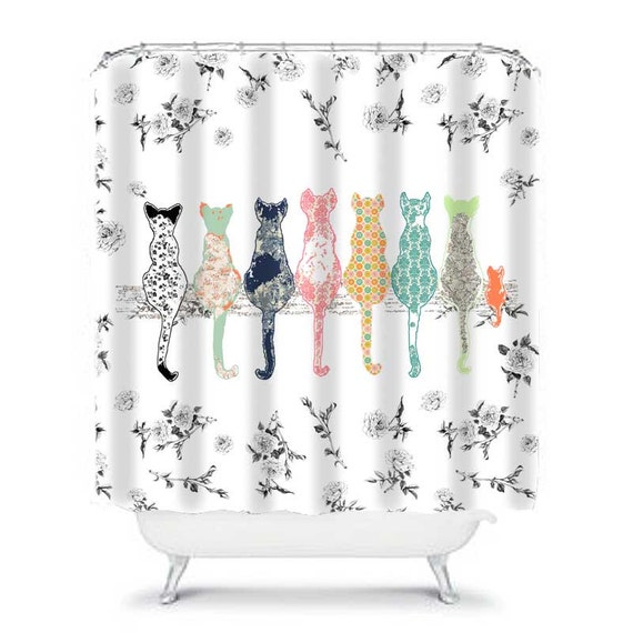 cat shower curtain, shabby chic shower curtain, shower curtains, shabby chic bathroom decor, cat decor, floral shower curtain, cat curtain