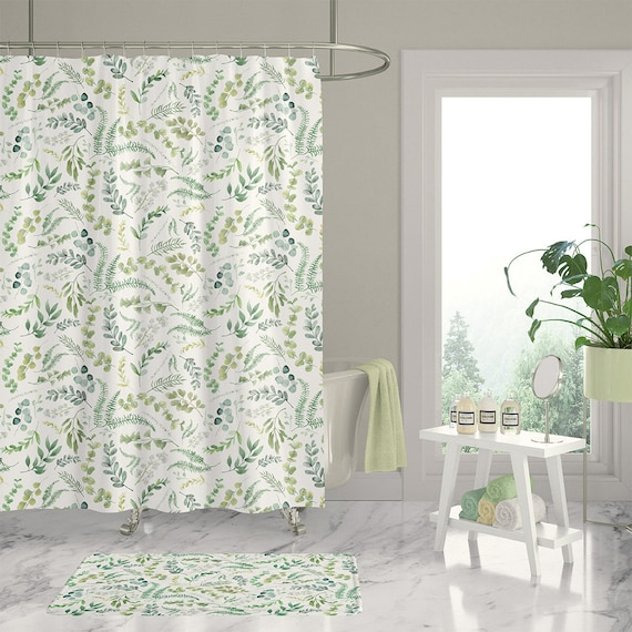 Long Botanical Shower Curtain With Leafy Green Watercolor Etsy