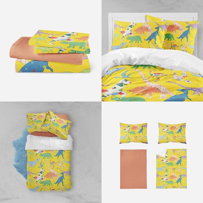 2d21e134c8e10 dinosaur bedding toddler boy bedding dinosaur duvet yellow boys room  dinosaur decor toddler boys decor yellow toddler bedding kids comforter