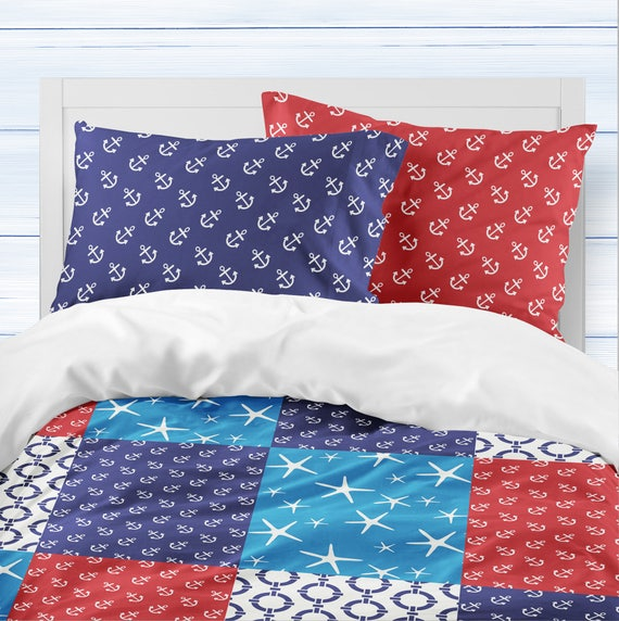 Nautical bedroom decor. Toddler boy bedding. Navy and red boys room decor.  Beach house decor. Patchwork sheets. Boating home decor.