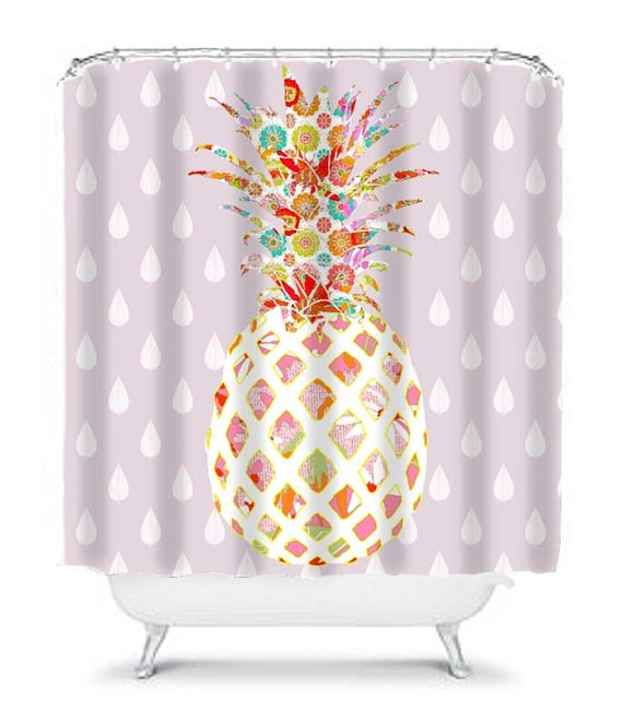 Pineapple Shower Curtain Purple Extra Long