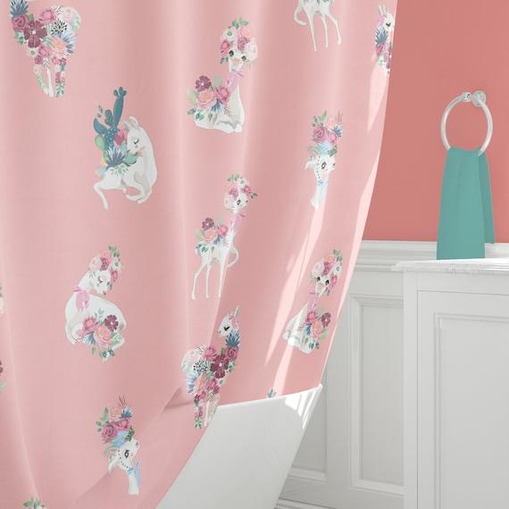 Llama Shower Curtain Pretty Curtains Peach Bathroom