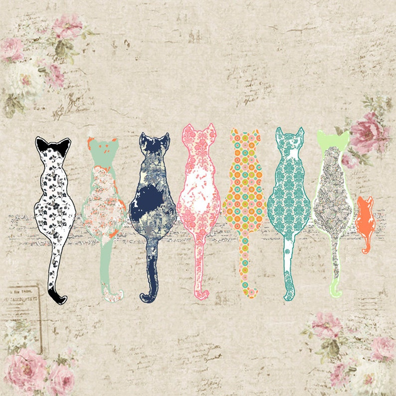 Cat Shower Curtain Shabby Chic Decor