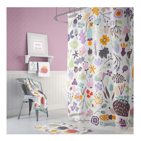 FLORAL Shower Curtain Fabric Extra Long