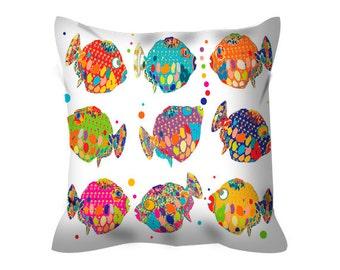 beach house decorative pillow tropical decor fish pillow colorful cushion cover colourful pillow tropical pillow abstract home decor sealife