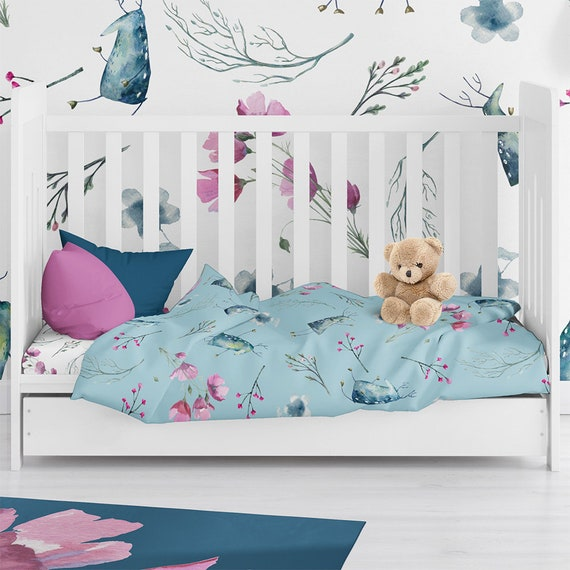 Girl Woodland Bedding Deer Bedding Set Personalized Girl Toddler Bedding Girl Crib Bedding Crib Bedding Set Floral Bedding Crib Sheet