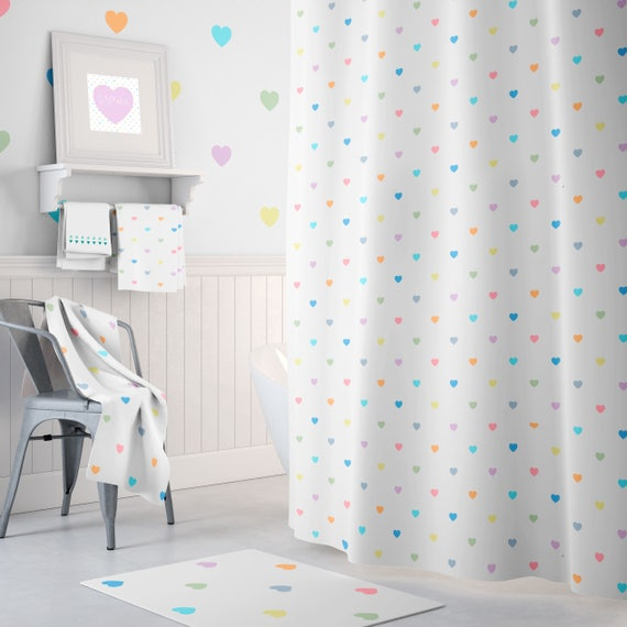 Extra Long Shower Curtain Love Hearts Curtains