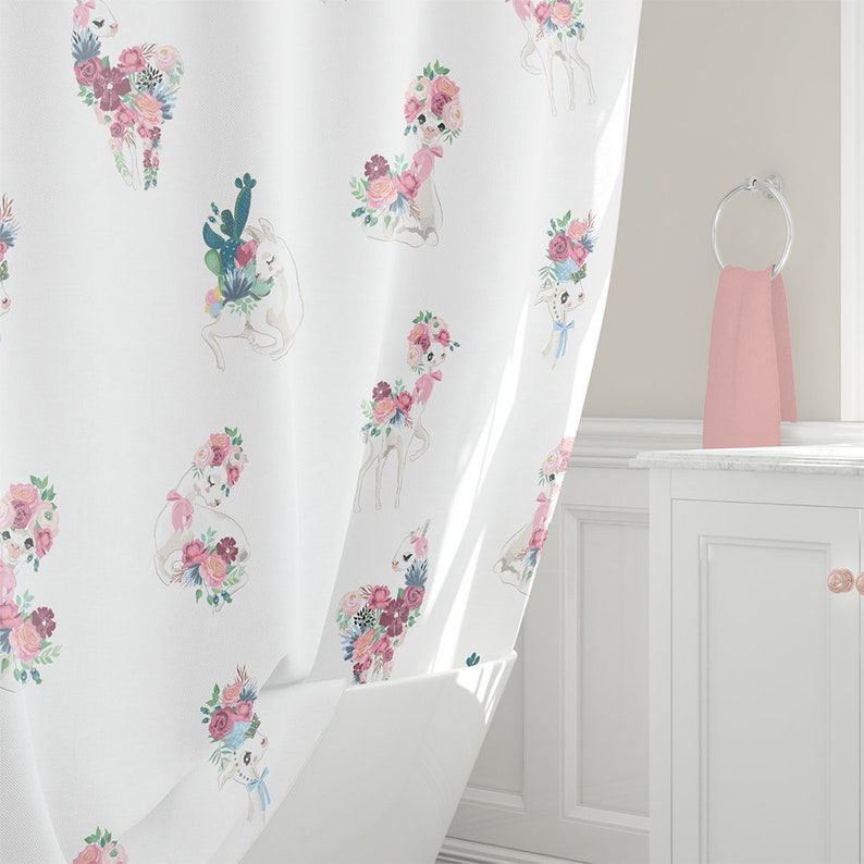 Llama Shower Curtain Personalised Kids Curtains Peach