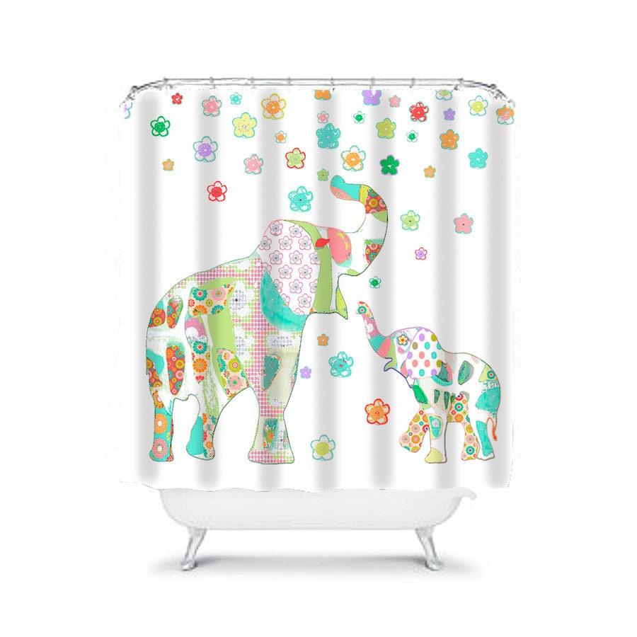 elephant shower kids shower curtain colorful shower curtains etsy. Black Bedroom Furniture Sets. Home Design Ideas