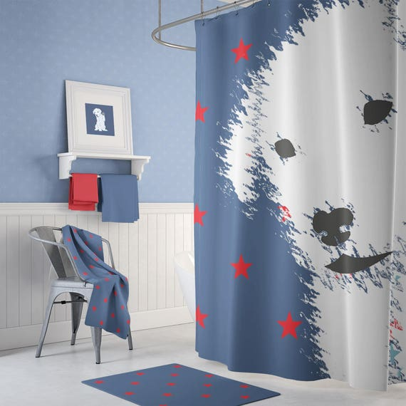 Kids Shower Curtain Dog Lovers Shower Curtain Red White And Blue Bathroom Decor Boy Shower Stars Shower Unique Shower Extra Long Shower