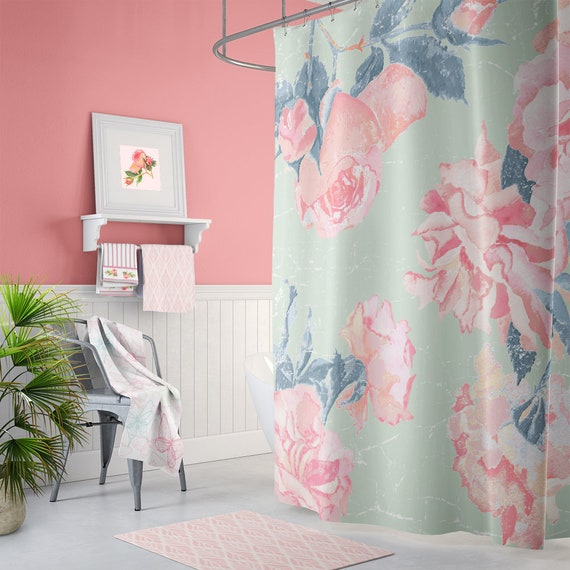Shabby Chic Pink And Mint Rose Shower Curtain With Matching