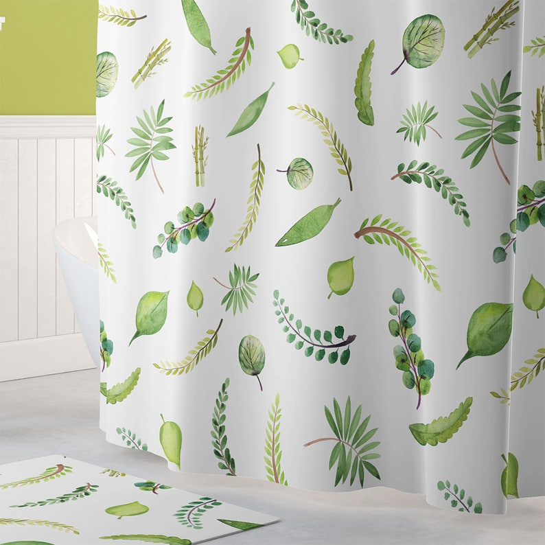 Extra Long Leafy Shower Curtain Botanical Green