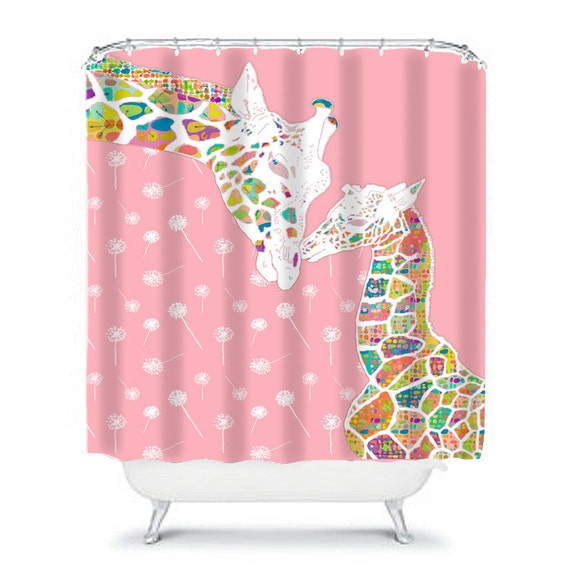 Giraffe Shower Curtain Pink Kids Bathroom