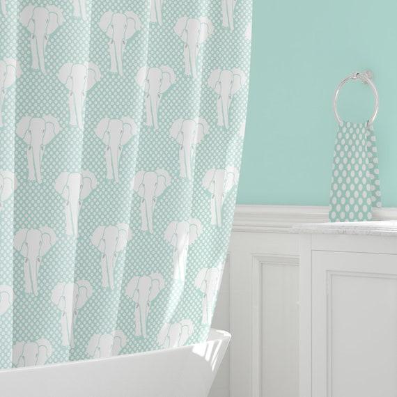 Mint Shower Green Kids Curtains Elephant