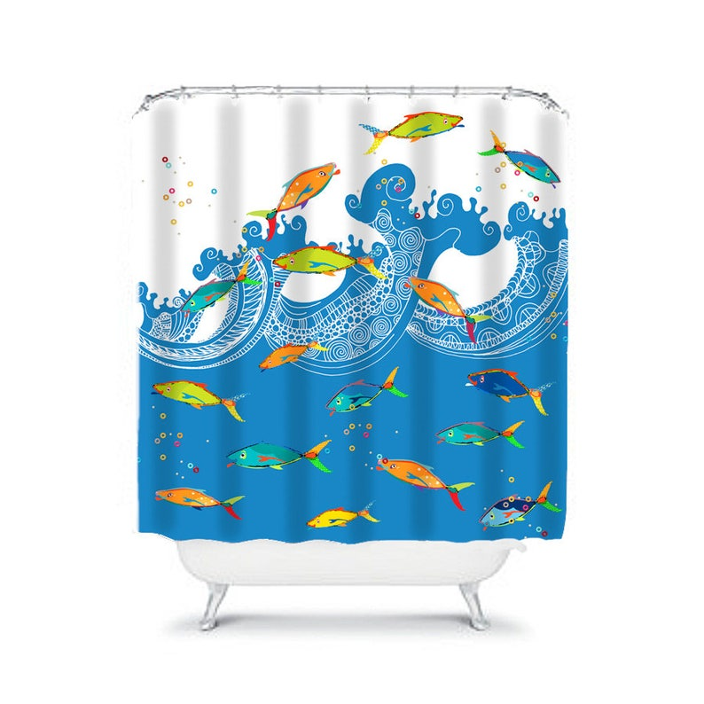 Boys Bathroom Decor Kids Shower Curtain Toddler