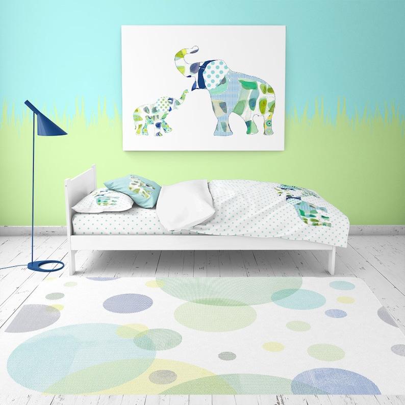 Toddler boys room floor rug. Playroom area rug. Blue & green | Etsy