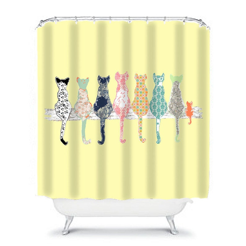 Cat Shower Curtain Cats Yellow