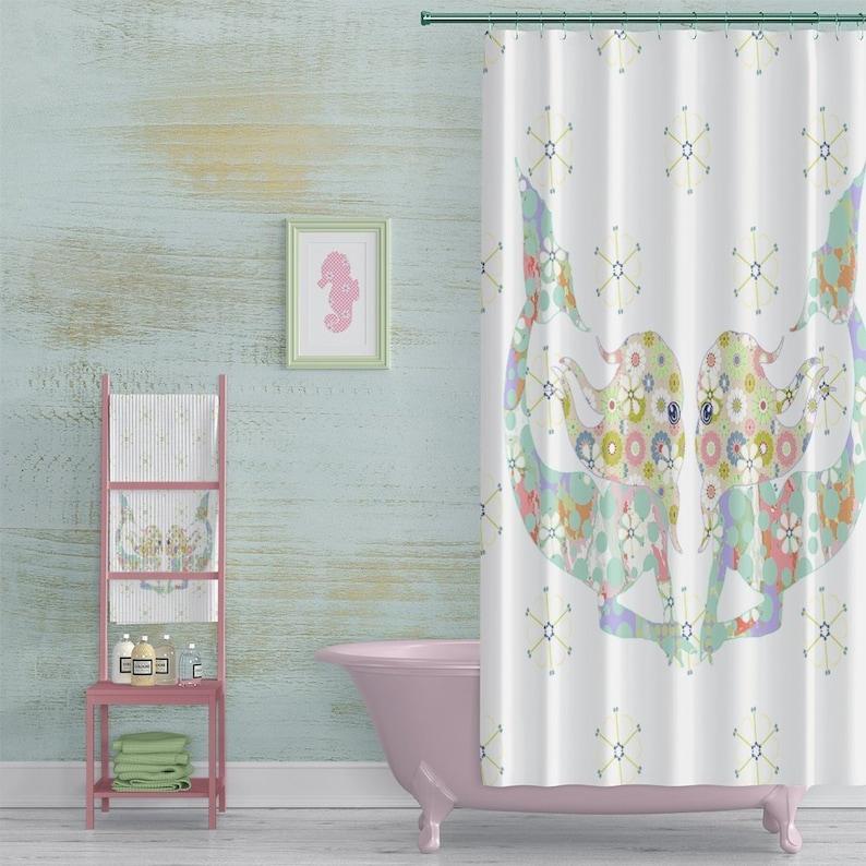 Mermaid Shower Curtain Beach House Bathroom Decor Aqua And