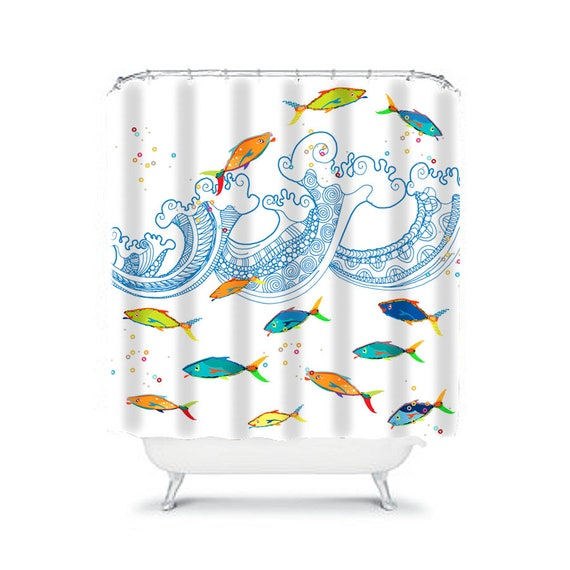 Kids Shower Curtain Toddler Boys Bathroom