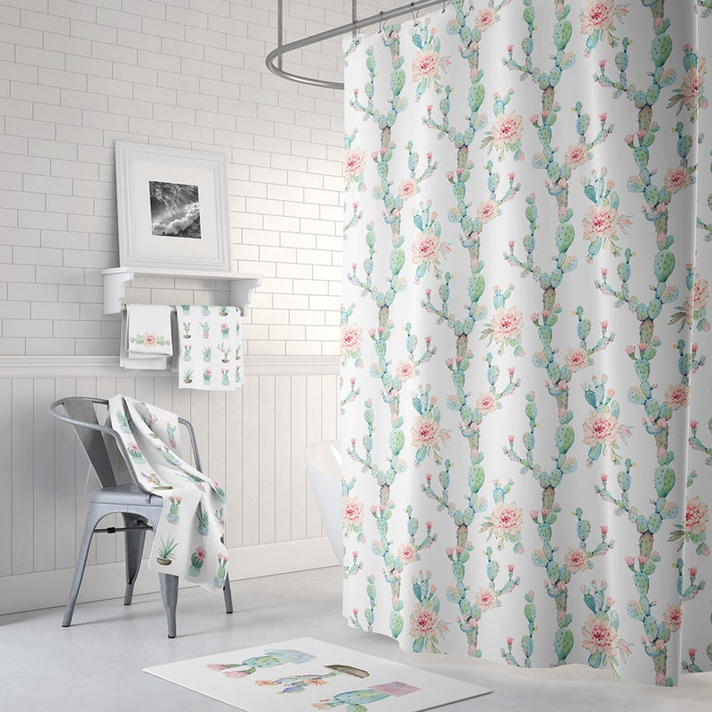 Desert Cactus Bloom Shower Curtain Cactus Shower Curtains Etsy