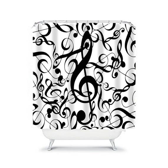 Extra Long Shower Curtain Musical Note Curtains