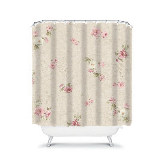 Shabby Chic Shower Curtain Rose Floral