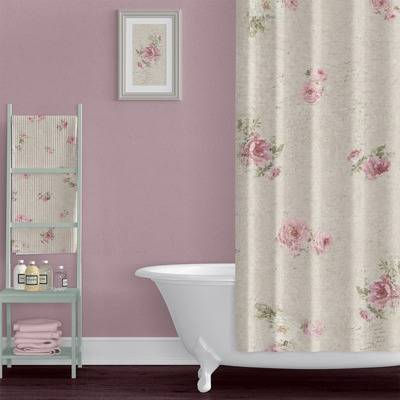 Shabby Chic Style Farmhouse Shower Curtain With Rose Floral Etsy