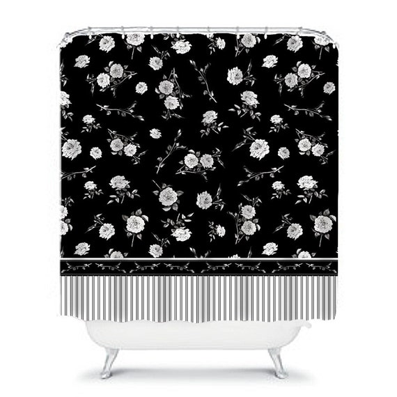Black And White Floral Shower Curtain With Bath Mat Floral Etsy