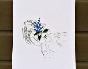 The last bouquet - drawing illustration print A4