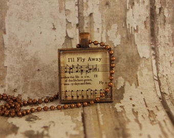 I'll Fly Away Hymn Pendant Necklace