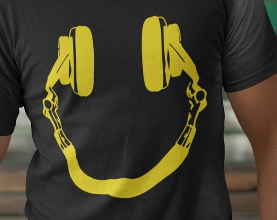 Smiley Headphones T-Shirt. DJ Shirt. DeeJay Shirt. Gift for DJ's and Music Lovers. Smiley Face Shirt. Funny T-Shirt.
