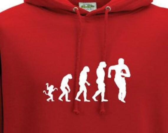 Evolution Rugby Hoodie. Unisex Hoodie. Rugby Gift. Six Nations. Rugby Fan Hoodie. Evolution Hoodie.